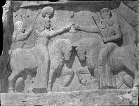 view Naqsh-i Rustam (Iran): Sasanian Relief Showing the Investiture of Ardashir I by the God Ahura Mazda (Hormizd) digital asset: Naqsh-i Rustam (Iran): Sasanian Relief Showing the Investiture of Ardashir I by the God Ahura Mazda (Hormizd) [graphic]
