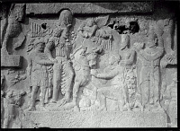 view Bishapur (Iran): Sassanid Reliefs Depicting the Triumph of Shapur I over Valerian: Detail View of the King on Horse and Three Defeated Enemies: Roman Emperor Valerian (Captured), Roman Emperor Philip the Arab (Kneeling), and Roman Emperor Gordian III (... digital asset: Bishapur (Iran): Sassanid Reliefs Depicting the Triumph of Shapur I over Valerian: Detail View of the King on Horse and Three Defeated Enemies: Roman Emperor Valerian (Captured), Roman Emperor Philip the Arab (Kneeling), and Roman Emperor Gordian III (Trampled) [graphic]