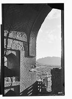 view Linjan District (Iran): Pir-i Bakran Mausoleum: Close View of an Arched Window, Looking Out digital asset: Linjan District (Iran): Pir-i Bakran Mausoleum: Close View of an Arched Window, Looking Out [graphic]