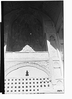 view Linjan District (Iran): Pir-i Bakran Mausoleum, Rear Wall of Large Iwan: View of Screen Wall Defining the Tomb Chamber which Open Gallery Above is Topped by a Muqarnas Dome digital asset: Linjan District (Iran): Pir-i Bakran Mausoleum, Rear Wall of Large Iwan: View of Screen Wall Defining the Tomb Chamber which Open Gallery Above is Topped by a Muqarnas Dome [graphic]