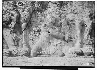 view Bishapur (Iran): Sassanid Reliefs Depicting the Investiture of Shapur I: Detail View of Roman Emperor Philip the Arab Kneeling and the Trampled Bodies of Two Defeated Enemies: One is the Roman Emperor Gordian III (L) and the Other is Angra Mainyu (R) digital asset: Bishapur (Iran): Sassanid Reliefs Depicting the Investiture of Shapur I: Detail View of Roman Emperor Philip the Arab Kneeling and the Trampled Bodies of Two Defeated Enemies: One is the Roman Emperor Gordian III (L) and the Other is Angra Mainyu (R) [graphic]