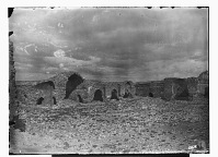 view Zafarani (Iran): Ruins of a Caravansarai: View of Courtyard and Large Iwans digital asset: Zafarani (Iran): Ruins of a Caravansarai: View of Courtyard and Large Iwans [graphic]