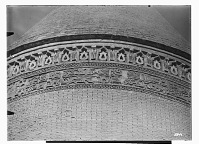 view Radkan (Iran): Tomb Tower at Radkan, West: Detail View of Two Encircling Bands of Floral Decoration and Arabic Inscription, Kufic Script digital asset: Radkan (Iran): Tomb Tower at Radkan, West: Detail View of Two Encircling Bands of Floral Decoration and Arabic Inscription, Kufic Script [graphic]