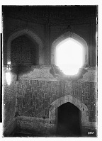view Sang Bast (Iran): Arslan Jadhib Mausoleum and Minaret: View of the Mausoleum's Octogonal Zone of Transition with Arches Alternating as Openings and Panels Filled with Geometric Brickwork digital asset: Sang Bast (Iran): Arslan Jadhib Mausoleum and Minaret: View of the Mausoleum's Octogonal Zone of Transition with Arches Alternating as Openings and Panels Filled with Geometric Brickwork [graphic]