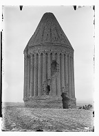 view Radkan (Iran): Tomb Tower at Radkan, East: View of the Structure Including Thirty-Six Engaged Columns Enveloping its Exterior Wall digital asset: Radkan (Iran): Tomb Tower at Radkan, East: View of the Structure Including Thirty-Six Engaged Columns Enveloping its Exterior Wall [graphic]