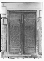 view Nishapur (Iran): Mohammad Mahruq Imamzade: View of the Entrance Doors with Geometrical Ornamentation and Arabic Inscriptions digital asset: Nishapur (Iran): Mohammad Mahruq Imamzade: View of the Entrance Doors with Geometrical Ornamentation and Arabic Inscriptions [graphic]