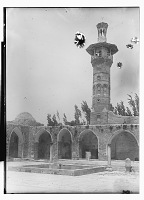 view Hama (Syria): Great Mosque: View of Courtyard and Minaret digital asset: Hama (Syria): Great Mosque: View of Courtyard and Minaret [graphic]