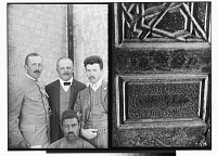 view Aleppo (Syria): (left) Ernst Herzfeld, Moritz Sobernheim, and Two Unidentified Members of the Expedition; (right) Inscription of Abu Bakr, on Wooden Panel [graphic] digital asset number 1