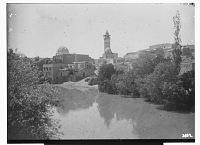 view Hama (Syria): Mosque and Mausoleum of Abu al-Fida: View across the Orontes River digital asset: Hama (Syria): Mosque and Mausoleum of Abu al-Fida: View across the Orontes River [graphic]
