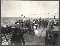 view Alice Roosevelt arrives at Incheon in Korea, accompanied by American ambassador to Korea, Edwin V. Morgan. 1905 digital asset number 1