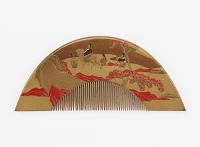 view Comb with decoration of Mount Fuji and travelers digital asset number 1