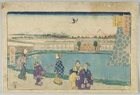 view Japanese Scene with Flying Kites digital asset number 1