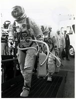 "view Gemini 3 Flight, Prelaunch; Clothing, Space Suits, Gemini, G-3C; Young, John Watts; Grissom, Virgil Ivan ""Gus"". [photograph] digital asset number 1"