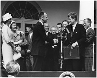 view Shepard, Alan B., Jr.; Kennedy, John F. (US President); Awards and Trophies, NASA Distinguished Service Medal. [photograph] digital asset number 1