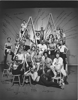 view Jack Mitchell Photography of the Alvin Ailey American Dance Theater Collection digital asset: Company group photo annotated with names & note