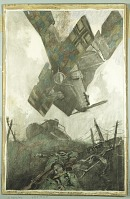 view Boche Plane Falling in No Man's Land of Verdun Offensive digital asset: Drawing by George Matthews Harding, Boche Plane Falling in No Man's Land of Verdun Offensive