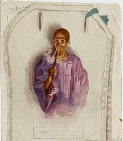 view [Chinese man in purple, smoking long pipe : advertising illustration] digital asset: [Chinese man in purple, smoking long pipe : advertising illustration].