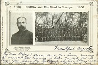 view 1900. John Philip SOUSA [sic] and His Band in Europe. 1900. [picture postcard.] digital asset: 1900. John Philip SOUSA [sic] and His Band in Europe. 1900. [picture postcard.]