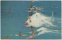 view Beatrice Litzinger Postcard Collection digital asset: Hawaii - Waikiki Beach