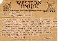 view Frank Schiffman Apollo Theater Collection digital asset: Telegrams to Frank Schiffman