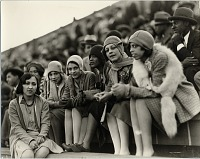view [Young women at outdoor sports event, probably football game at Griffith Stadium : black-and-white photoprint, probably ca. 1920-1930, print ca. 1970.] digital asset number 1
