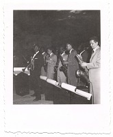 view [Dizzy Gillespie and band on stage, undated.] [Black-and white-photoprint] digital asset: [Dizzy Gillespie and band on stage, undated.] [Black-and white-photoprint].