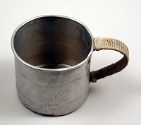 view Prisoner of War Tin Cup with Lacing on Handle digital asset: Prisoner of War tin cup with lacing on handle