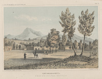 "view Chromolithograph of ""Fort Massachusetts at the Foot of the Sierra Blanca Valley of San Luis"" digital asset number 1"