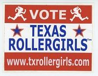 view Vote Texas Rollergirls sticker digital asset: Roller derby sticker