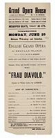 view Handbill for the English Grand Opera and <i>Frau Diavolo</i> digital asset number 1