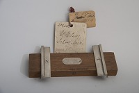 view George Elsey's 1878 School Desk Patent Model fragment digital asset: Original tag.