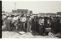 view Braceros Waiting at Processing Center digital asset: Braceros, holding their belongings, wait in lines organized by state of origin at the Monterrey Processing Center, Mexico.