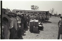 view Braceros Waiting to Board Buses digital asset: At the Monterrey Processing Center, Mexico, a long line of braceros waits to board buses to the Hidalgo Processing Center, Texas, on the U.S.-Mexico border.