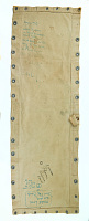 """view Bunk from Troopship General Nelson R. Walker digital asset: Canvas bunk decorated with graffiti from the troopship """"General Nelson R. Walker"""", used during the Vietnam War."""