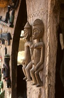 view Close-up of relief carving on Togu na wooden supports - male and female pair, Dogon region, Mali digital asset: Close-up of relief carving on Togu na wooden supports - male and female pair, Dogon region, Mali