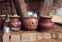 view painted pottery with dialogue Dogon region, Mali digital asset: painted pottery with dialogue Dogon region, Mali