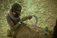 view Samburu woman making necklet : Kenya digital asset: Samburu woman making necklet : Kenya