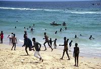 view Children at the beach, near Dakar, Senegal digital asset: Children at the beach, near Dakar, Senegal