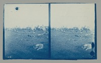 view Stereoscope of Group Outside Conical-Shaped Tents of Summer Camp; Husky Dogs in Foreground 1877 digital asset number 1