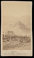 view View of Town Inside Extinct Volcano Crater; Group in Costume And with Camels; Fortress in Distance 1871 digital asset number 1