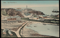 view View of Harbor Town Showing Buildings on Hillside Overlooking Bay with Ships Near Lighthouse, Sea Side of Extinct Volcano n.d digital asset number 1