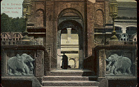 view Entrance to Dalada Maligawa, or Temple of (Buddha's) Tooth; Man in Costume Under Archway n.d digital asset number 1