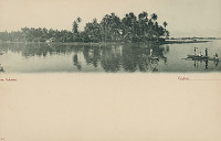 view Group in Costume with Outrigger Canoes on Water; Thatch Houses on Shore n.d digital asset number 1
