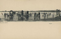 view Group in Costume with Thatch-Covered Wagons and Jinrikshas At Bathing Place n.d digital asset number 1