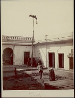 view Indian acrobat balancing on pole with man playing drum below him in courtyard, undated digital asset number 1
