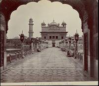 view Darbar Sahib (Golden Temple) with group of men and boys on marble causeway 1862 digital asset number 1