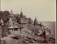 view Burning Ghat or Manikarnika, the chief cremation center of Benares 1863 digital asset number 1