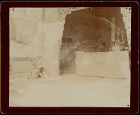 view Woman in Costume Inside Buddhist? Temple; Ceremonial Objects On Carved Stone Altar 1896 digital asset number 1