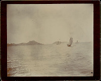 view View of Junks in Harbor; Macao? in Distance 1896 digital asset number 1