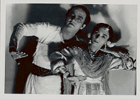 view Afroza and Bulbul Chaudhry of Afroza Bulbul's Premier Troupe Of Classical Dance, in Costume and with Ornaments, in Dance Pose 1956 digital asset number 1
